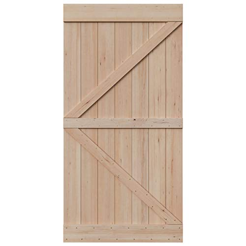 SmartStandard 42in x 84in Sliding Barn Wood Door Pre-Drilled Ready to Assemble, DIY Unfinished Solid Hemlock Wood Panelled Slab, Interior Single Door, Natural, Frameless K-Shape (Fit 8FT Rail)