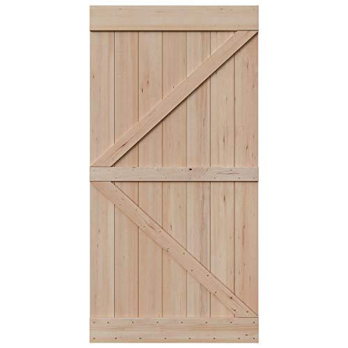 SmartStandard 42in x 84in Sliding Barn Wood Door Pre-Drilled Ready to Assemble, DIY Unfinished Solid Hemlock Wood Panelled Slab, Interior Single Door, Natural, Frameless K-Shape (Fit 8FT Rail) ()