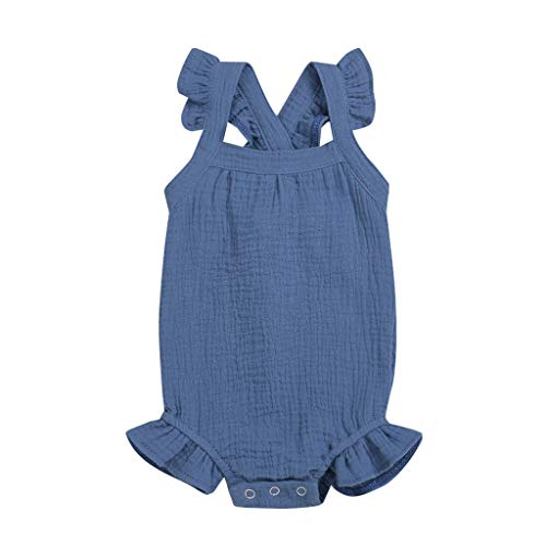 LNGRY Baby Outfits,Toddler Newborn Kid Girls Romper Solid Ruffle Jumpsuit Sling Strap Playset Trimmed Bodysuit Blue ()
