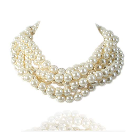 Kalse Simulated Pearl White Beads Cluster Statement Chunky Bib Short Choker Necklace 16 17 18 -