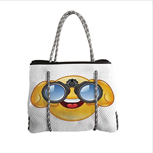 (iPrint Neoprene Multipurpose Beach Bag Tote Bags,Emoji,Smiley Face with a Telescope Binoculars Glasses Watching Outside Cartoon Print,Yellow and Blue,Women Casual Handbag Tote Bags)