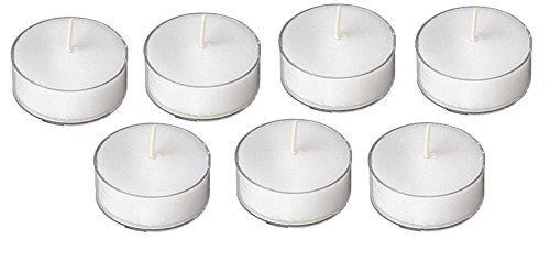 5 Hours Burn Time White Unscented Tea Lights In Clear Plastic Cups - Case of 125 Clear Cup ()