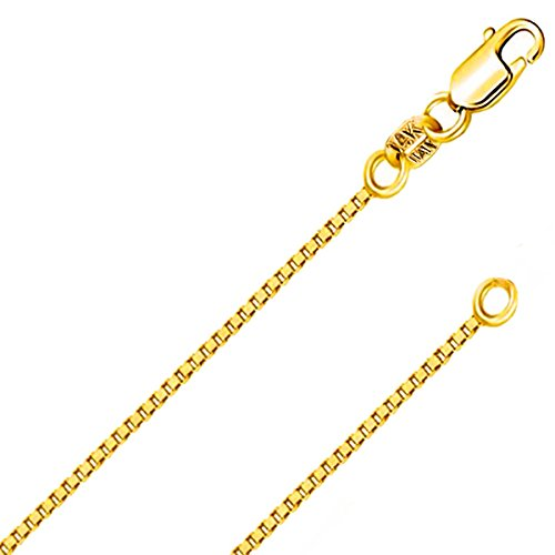 14K Solid Yellow Gold 1.2MM Italian Diamond Cut Box Chain Necklace with Lobster Claw Clasp - FREE Extra 925 Extension (1.2 MM 14K Yellow Gold 20