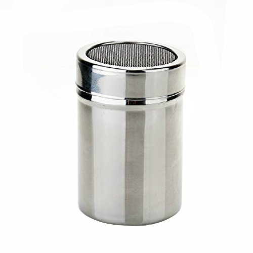 Stainless Steel Powder Dusting Sifter Coffee Shaker Cocoa Flour Icing Sugar with Chocolate Sifter Lid (Sifter Silver)