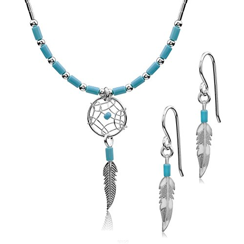 Dream Catcher Sterling Silver Turquoise Imitation Necklace Small Feather Earrings Set 18