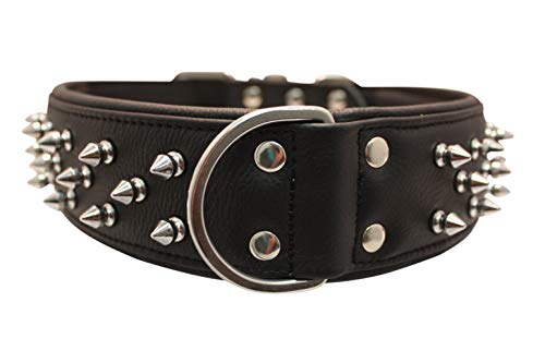 """Angel, Leather Black, Multi- Line Spiked Dog Collar, 28"""" x 2"""", XL Fits Neck Size 22.5""""- 25.5"""" or Weights of 90-125 LBS, Super Soft Padded Leather, Amsterdam Collection"""