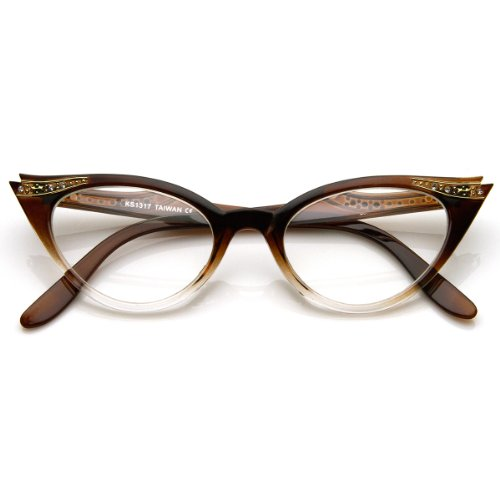 zeroUV - Womens Retro Fashion Clear Lens Cat Eye Glasses