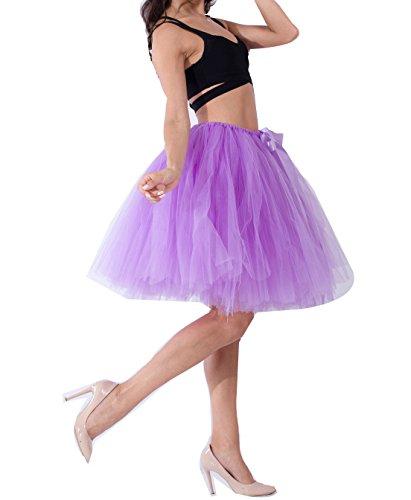 Femme Vintage Ballet Tutu Jupe en Tulle au Genou Multi-couche Pettiskirt Princesse Haute Taille Lumire Violet