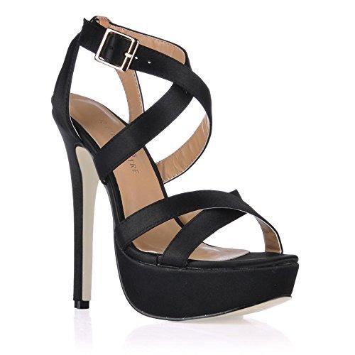las de los de talones primavera Best altos de otoño Toe tacón de satén suela Los goma estilete negro 4U® Peep zapatos Crossing del correas 14CM mujeres CXqqwHPIx