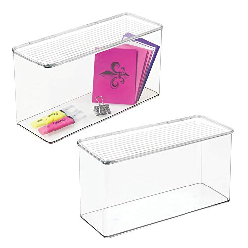 Storage Lid Attached (mDesign Long Plastic Stackable Office Supplies Storage Organizer Box with Attached Hinged Lid, Holder Bin for Note Pads, Gel Pens, Staples, Dry Erase Markers, Tape - 7