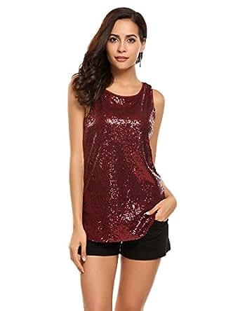 Mofavor Women's Sleeveless Round Neck Sparkle Glitter Sequined Camisoles Vest Tank Tops, Dark Red, Small