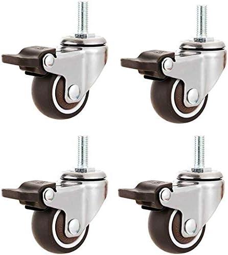 50Mm CLQya Roulettes 4 Roulettes pour meubles 1 25Mm Boulon M10 | Roulettes pivotantes silencieuses en caoutchouc Roues de chariot industriel avec frein pour tapis Filetage M6 | 1,5 Vis M8 | 2