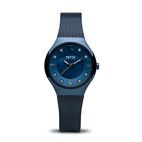 BERING Time 14427-393 Women Solar Collection Watch with Stainless-Steel Strap and scratch resistent sapphire crystal. Designed in Denmark