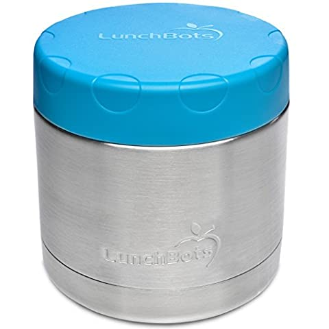 LunchBots Wide Thermal 16 oz. All Stainless Steel Bowl - Insulated Food Container Stays Warm 6 Hours or Cold for 12 Hours - Leak Proof Soup Jar for Portable Convenience - (Stainless King Ounce Food Jar)