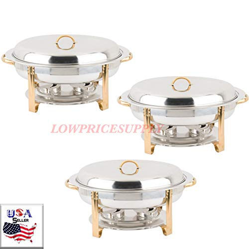 (3 PACK Deluxe 6 Qt Gold Stainless Steel Oval Chafer Chafing Dish Set Full Size By Lowpricesupply)