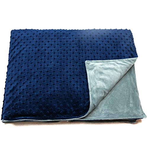 Roore 5 lb Children's (for 50lb individual) 36''x48'' Navy Blue and Gray Weighted Blanket with Dotted Minkey Cover. Fall Asleep Faster Perfect for kids with Anxiety OCD Stress ADHD Autism by Roore