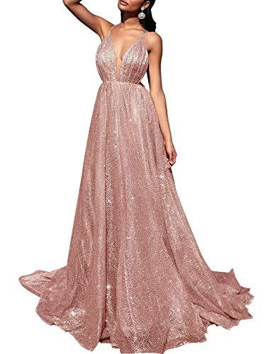 Women's Sparkling Deep V-Neck Prom Dresses Long Backless Tulle Formal Evening Gown(Rose Gold 06)