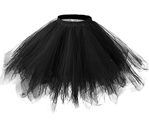 [LaceLady Women's 1950s Vintage Petticoats Crinolines Bubble Tutu Dance Half Slip Skirt Black S/M] (Pictures Of Jazz Dance Costumes)