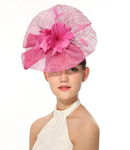 Newest Women's Large Sinamay Fascinator Headband Cocktail Hat 7 Colors Available (Hot - Ray Pink Bands