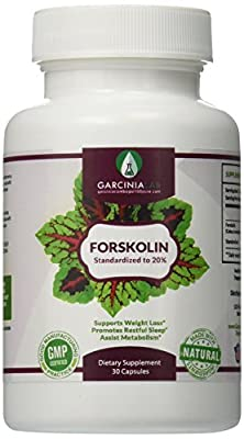 GarciniaLab 100% Pure Forskolin Max Strength Forskolin Extract Supplement for Weight Loss Fuel, Coleus Forskohlii Root 20% Forskolin Diet Pills