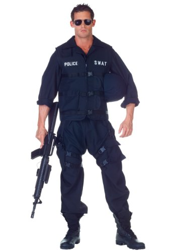 Underwraps Men's Plus-Size Swat with Jumpsuit, Black, -