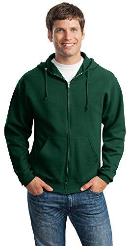 (Jerzees 8 oz., 50/50 NuBlend Fleece Full-Zip Hood (993)- FOREST GREEN,3XL)