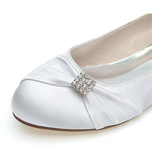 Donna Silver Tacco Scarpe di Chiusa Punta Charming Satin Vestito 0 da Strass da 6cm Sposa Classe Elobaby wg6RaUqIq