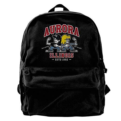 WUHONZS Canvas Backpack Waynes World Party Time Aurora Illinois Rucksack Gym Hiking Laptop Shoulder Bag Daypack for Men Women