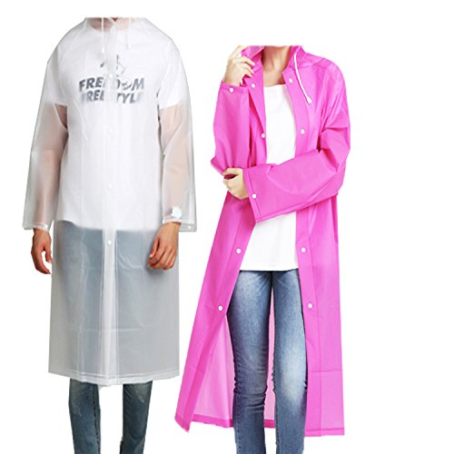 Rain Poncho - 2 Pack SIZE 57 by 27.6 Inches Rain Coats for A