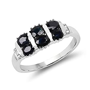 Johareez 1.33 cts Black Sapphire & White Topaz .925 Sterling Silver Rhodium Plated Ring for Women