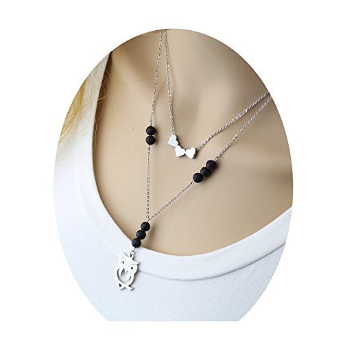 Three Heart Owl Volcanic Pendant Necklace - Cute Delicate Thin Triple Lava Rock Stone Essential Oils Diffuser Aromatherapy Love Floating Flat Friendship Healing Small Heart Choker Necklace for (Easy Best Friend Costumes)