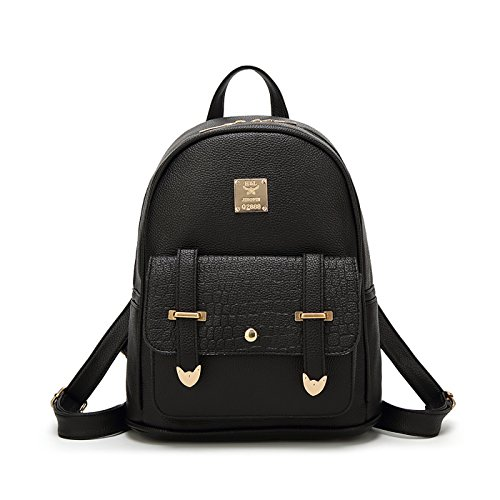 Tisdaini Mujer mochilas Moda PU piel viaje mochila casual bolso bandolera escolar Dama bolsa Negro1