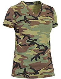 Womens Long Length V-Neck Camouflage T-Shirt, Woodland Camo