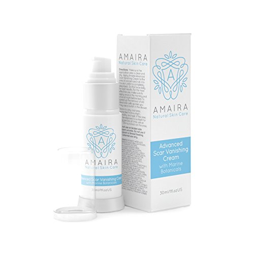 Advanced Scar Cream - C Section Scar Removal Treatment, Acne Mark Removal. Safe for use on Face, Body, Kids and Old Scars. By Amaira