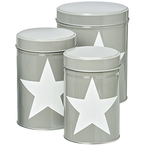 The Cape Cod White Star, Round Gray Cookie Canister Tins, Set of 3, Lift off Lids, Assorted Sizes from 3-6 Inches Tall, Food Storage and Organization, By Whole House ()