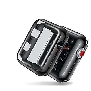 Smiling Case for Apple Watch Series 3 42mm with Buit in TPU Clear Screen Protector - All Around Protective Case High Definition Clear Ultra-Thin Cover for Apple iwatch 42mm Series 3