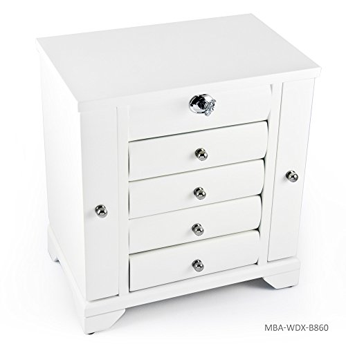 Contemporary 18 Note Matte White Spacious Musical Jewelry Box with Silver Hardware - In the Good Old Summertime by MusicBoxAttic