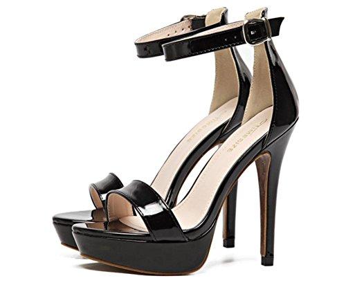 Damen Sexy Sandalen Stilett Hoch Hacke Schuhe Knöchel Gurt Schnalle Plattform Gucken Zehe Schwarz Arbeit Party Kleid Nachtclub BLACK