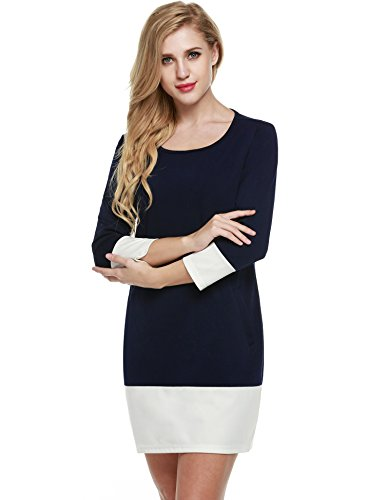 Tunika Meaneor Dunkelblau Color 3 Blocking Businesskleid Ärmeln Damen Etuikleid 4 Casual Knielang Shirtkleid Kleid Taschen