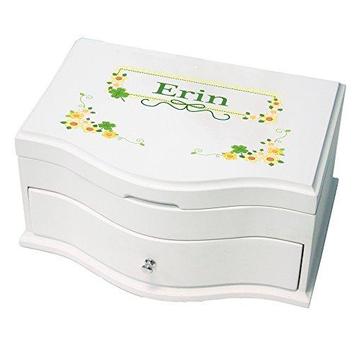(MyBambino Personalized Princess Jewelry Box with Shamrock Floral Design)