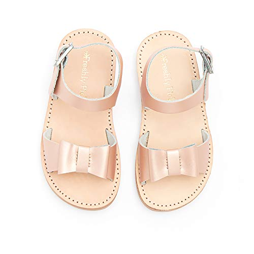 (Freshly Picked - Bayview Little Girl Leather Sandals - Size 7 Rose Gold)