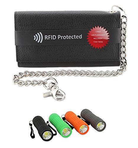 Mens Black Cowhide RFID Blocking ID Protection 21 Pocket Trucker Biker Trifold Chain Wallet + LED Flashlight