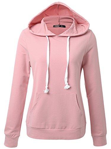 JayJay Women Long Sleeve Lightweight Casual Pullover Hoodie Sweatshirts With Kangaroo Pocket,INDIPINK,M (Hoodies Womens Pullover Lightweight)