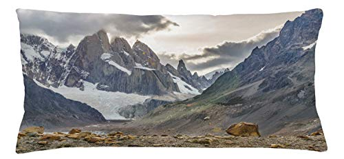 Lunarable Argentina Throw Pillow Cushion Cover, Patagonia Landscape Scene at Laguna Torre with Snowy Andes Mountains El Chalten, Decorative Rectangle Accent Pillow Case, 36