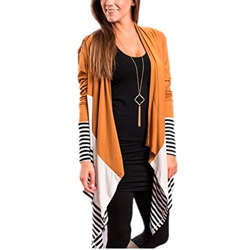 Adrinfly Women Open-Front Striped Cardigan Long Sleeve Draped Loose Casual Splicing Outerwear