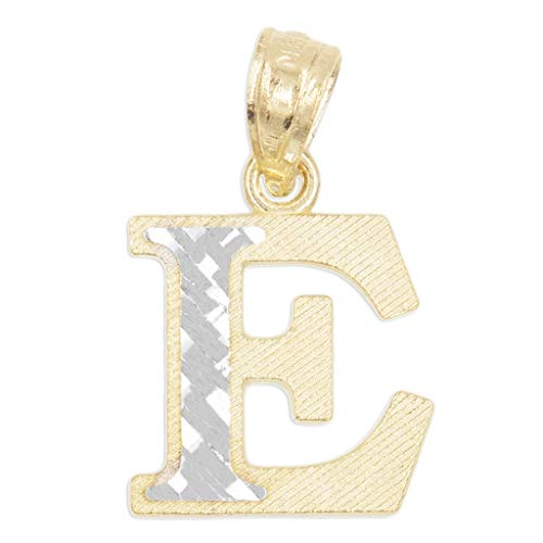 10k Real Solid Gold Two Tone Initial Pendant with Diamond Cut Finish, Available in Different Letters Personalized Letter Jewelry Gifts for Her (E)