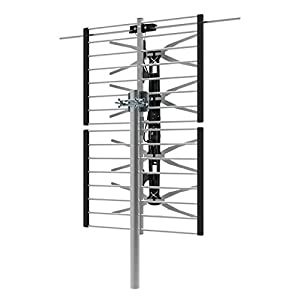 1byone Outdoor TV Antenna, 4-Bay Multi-directional Outdoor/Roof Antenna up to 65 Miles, Support 1080P, 4K and 3D Channels, High Gain VHF/UHF Antenna with Foldable Panel- Bowtie HDTV Antenna