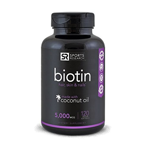 Biotin (High Potency) 5000mcg Per Veggie Softgel; Enhanced with Coconut Oil for better absorption; Supports Hair Growth, Glowing Skin and Strong Nails; 120 Mini-Veggie Softgels; Made In - Health And Beauty
