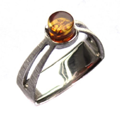 Honey Amber Sterling Silver French Collection Ring Size ()