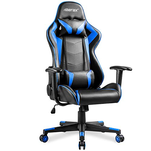 Gaming Chair PU Swivel Adjustable Racing Chair with Headrest and Lumbar Support Blue and Black
